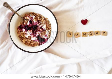 Breakfast In Bed And Wooden Letters
