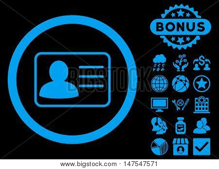 Account Card icon with bonus elements. Vector illustration style is flat iconic symbols, blue color, black background.