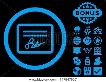 Agreement icon with bonus design elements. Vector illustration style is flat iconic symbols, blue color, black background.