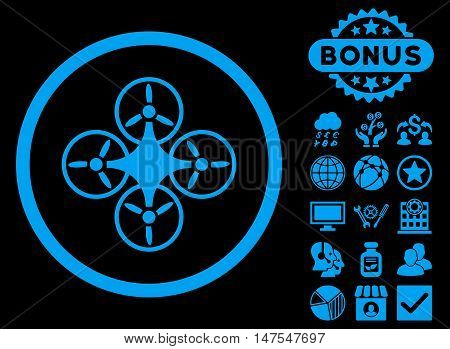 Air Drone icon with bonus elements. Vector illustration style is flat iconic symbols, blue color, black background.