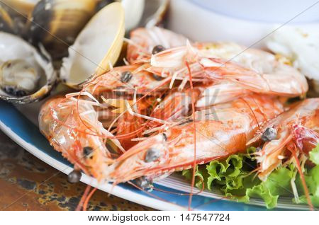 steamed shrimp or steamed prawn dish on the table