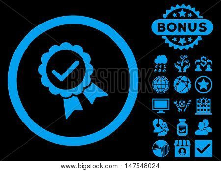 Approved icon with bonus design elements. Vector illustration style is flat iconic symbols, blue color, black background.
