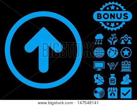Arrow Up icon with bonus elements. Vector illustration style is flat iconic symbols, blue color, black background.