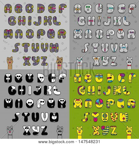 Artistic vintage alphabets. Dressed letters. Gray symbols with ties. Font with black and white suites. Yellow cartoon font. Vector illustration.
