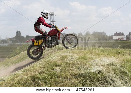 Dnepropetrovsk, Ukraine, May 22, 2016.Ukraine Motocross Championship in 2016. Motorcycle racer during the race at a sports bike