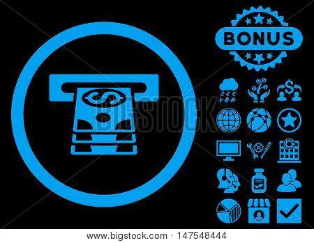 Bank Cashpoint icon with bonus images. Vector illustration style is flat iconic symbols, blue color, black background.