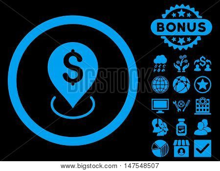 Bank Placement icon with bonus design elements. Vector illustration style is flat iconic symbols, blue color, black background.