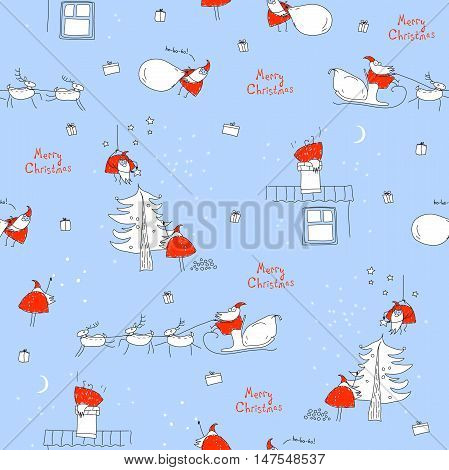 Seamless pattern Merry Christmas. Santa Claus, sleigh, reindeer, Christmas tree, house, chimney, gifts, snow. Christmas background. Xmas sketch. Hand-drawn illustration for New Year's design.