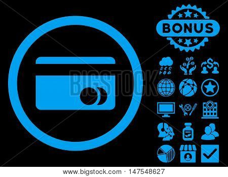 Banking Card icon with bonus images. Vector illustration style is flat iconic symbols, blue color, black background.