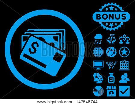 Banknotes and Card icon with bonus elements. Vector illustration style is flat iconic symbols, blue color, black background.