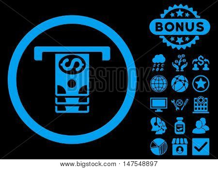 Banknotes Withdraw icon with bonus design elements. Vector illustration style is flat iconic symbols, blue color, black background.