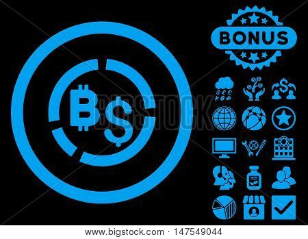 Bitcoin Financial Diagram icon with bonus pictogram. Vector illustration style is flat iconic symbols, blue color, black background.