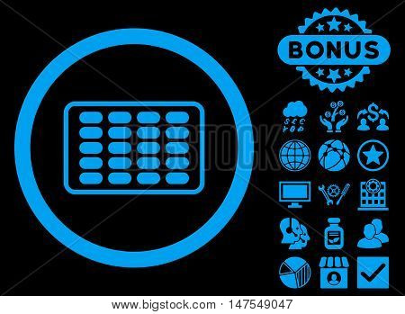 Blister icon with bonus elements. Vector illustration style is flat iconic symbols, blue color, black background.