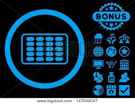 Blister icon with bonus elements. Vector illustration style is flat iconic symbols, blue color, black background.