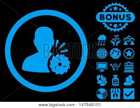 Body Execution icon with bonus elements. Vector illustration style is flat iconic symbols, blue color, black background.