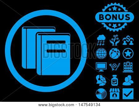Books icon with bonus pictures. Vector illustration style is flat iconic symbols, blue color, black background.