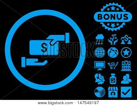 Bribe icon with bonus elements. Vector illustration style is flat iconic symbols, blue color, black background.