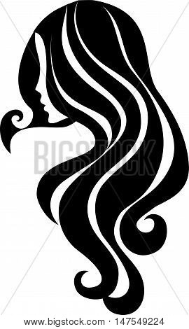 Vector hair icon. Beautiful young girl with long hair