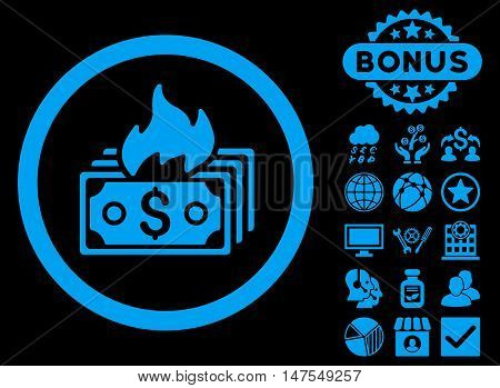 Burn Banknotes icon with bonus pictures. Vector illustration style is flat iconic symbols, blue color, black background.