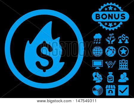 Business Fire Disaster icon with bonus symbols. Vector illustration style is flat iconic symbols, blue color, black background.