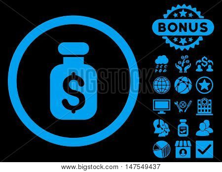 Business Remedy icon with bonus pictogram. Vector illustration style is flat iconic symbols, blue color, black background.