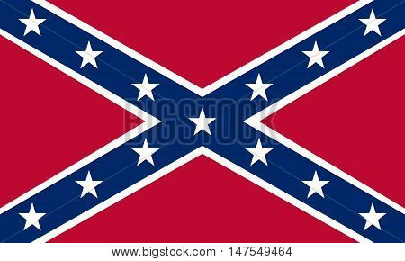 National flag of the Confederate States of America. Known as Confederate Battle Rebel Southern Cross Dixie flag. Historical flag of the CSA. Correct size colors. Patriotic symbol banner. Vector