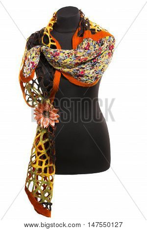 Female stole from felted wool on a mannequin