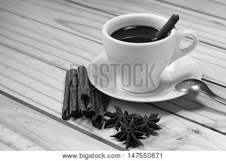 Glass Of Hot Cinamon Espresso With