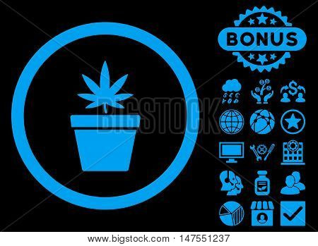 Cannabis Pot icon with bonus elements. Vector illustration style is flat iconic symbols, blue color, black background.
