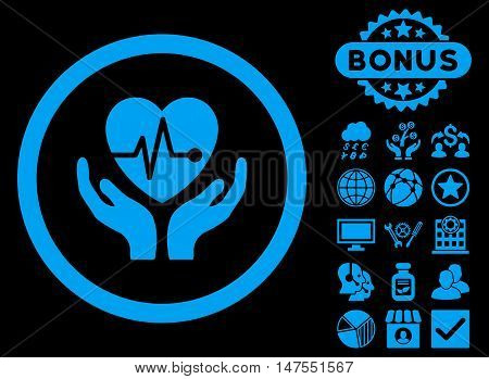 Cardiology icon with bonus symbols. Vector illustration style is flat iconic symbols, blue color, black background.