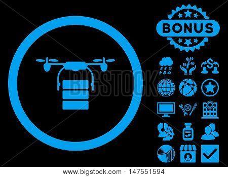 Cargo Drone icon with bonus pictogram. Vector illustration style is flat iconic symbols, blue color, black background.