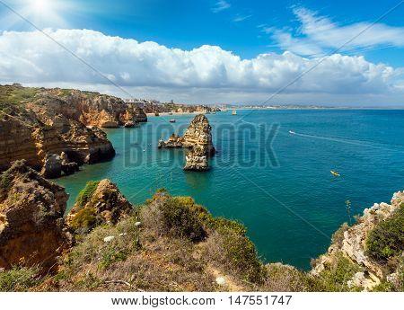 Sunshine Above Lagos Summer Coastline (algarve, Portugal)