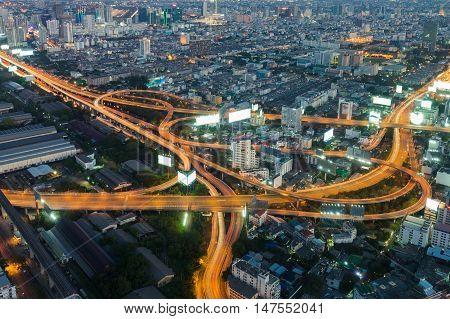Aerial view city highway interchanged night view, Bangkok Thailand