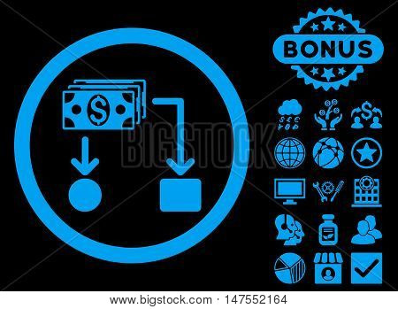 Cashflow icon with bonus pictogram. Vector illustration style is flat iconic symbols, blue color, black background.