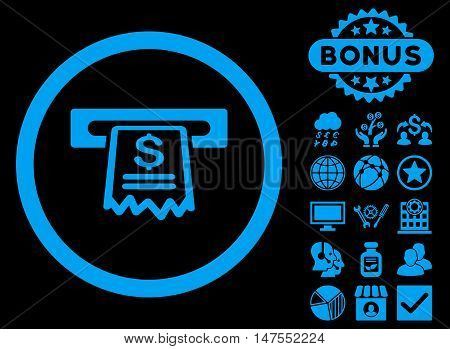 Cashier Receipt icon with bonus symbols. Vector illustration style is flat iconic symbols, blue color, black background.