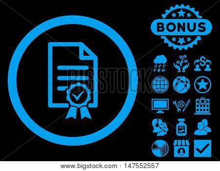 Certified icon with bonus images. Vector illustration style is flat iconic symbols, blue color, black background.