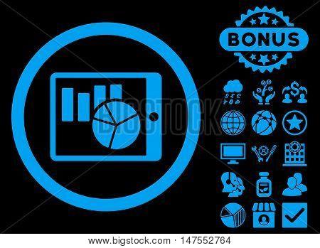 Charts on Pda icon with bonus design elements. Vector illustration style is flat iconic symbols, blue color, black background.