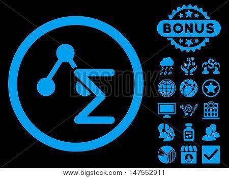 Chemical Formula icon with bonus symbols. Vector illustration style is flat iconic symbols, blue color, black background.