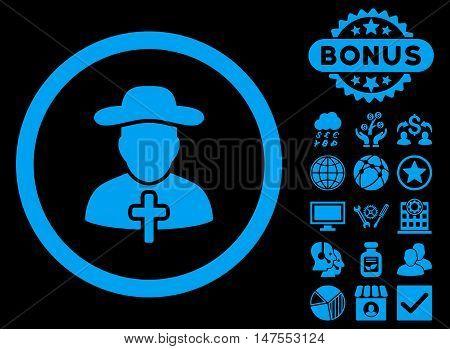 Clergy icon with bonus elements. Vector illustration style is flat iconic symbols, blue color, black background.