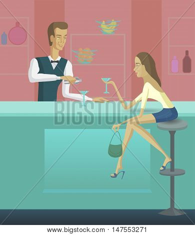 Girl and bartender vector illustration. Woman sitting at the bar counter. Barman pouring drink.