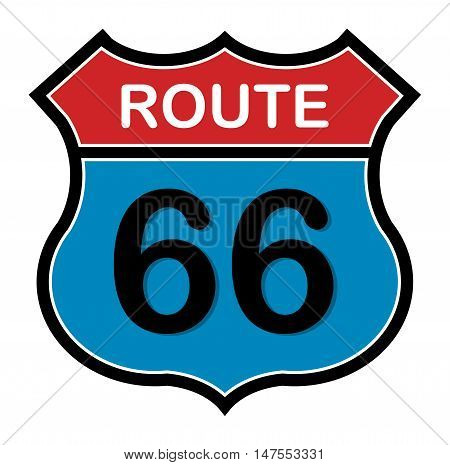 Route 66 sign on white background, vector illustration