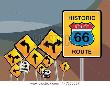 Route 66 sign and other road signs, vector illustration