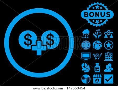 Coins Sum icon with bonus images. Vector illustration style is flat iconic symbols, blue color, black background.