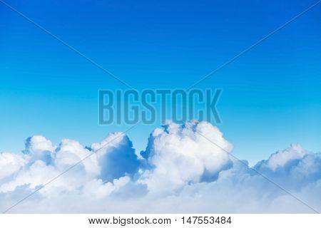 Cloudscape With White Cumulus Clouds