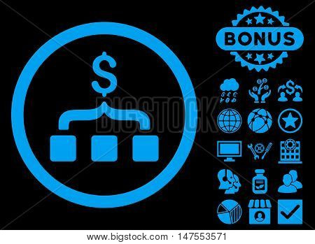 Collect Money icon with bonus design elements. Vector illustration style is flat iconic symbols, blue color, black background.