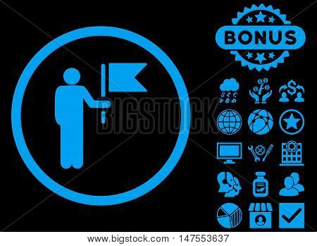 Commander icon with bonus symbols. Vector illustration style is flat iconic symbols, blue color, black background.