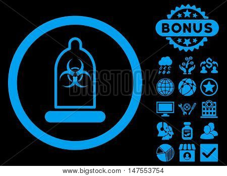 Condom Biohazard icon with bonus pictogram. Vector illustration style is flat iconic symbols, blue color, black background.