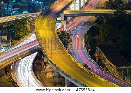 Close up highway interchange long exposure night view