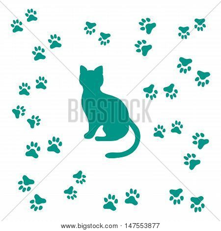 Nice picture of silhouette sitting cat and animal traces on a white background
