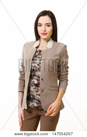 indian business woman with straight hair style in summer gray jacket close up portrait isolated on white